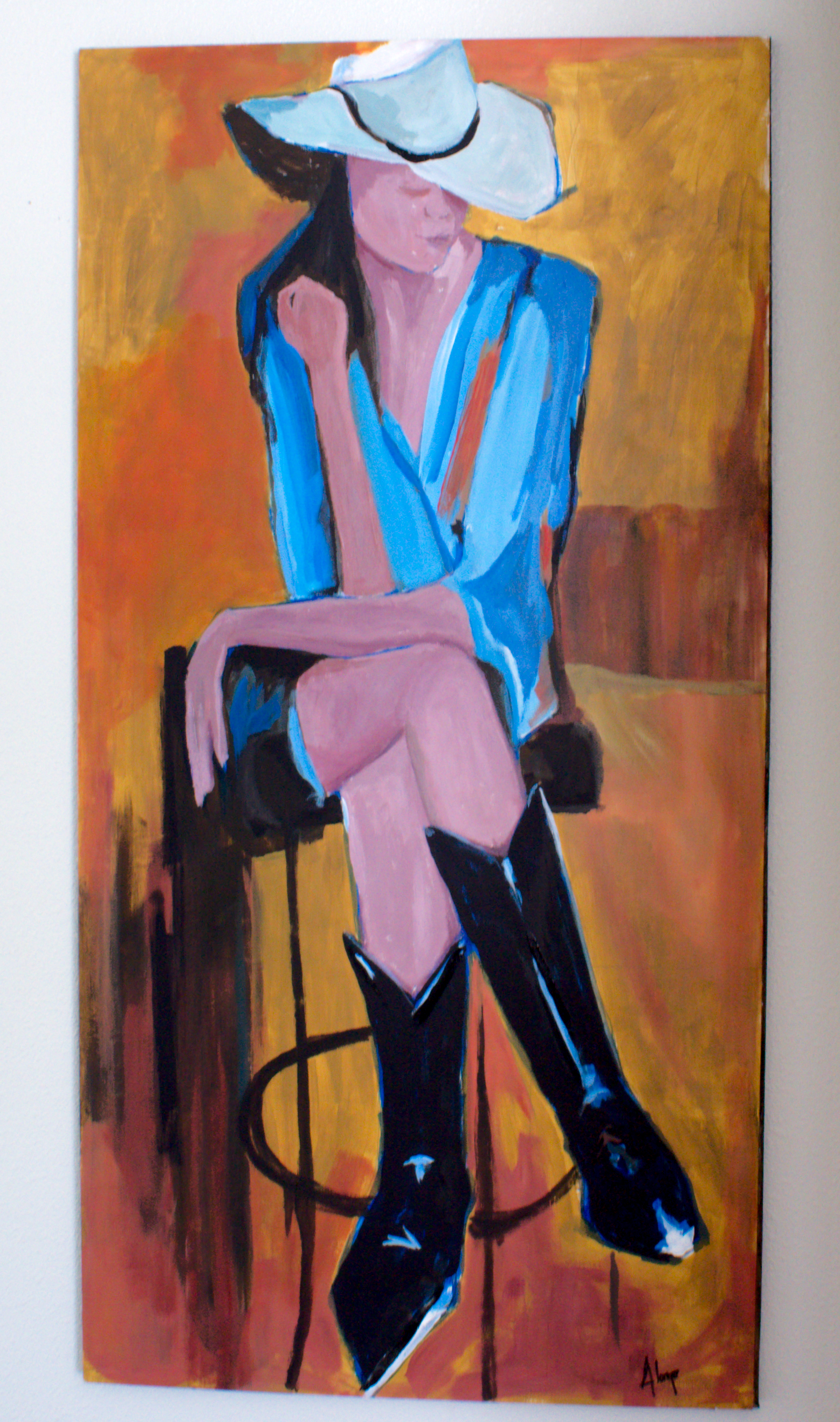 """Cowgirl"" 48 x 24 Acrylic on Board"